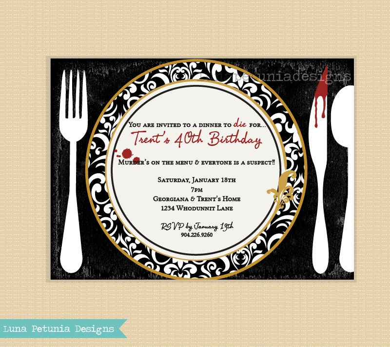Dinner Party Invitations: Murder Mystery Dinner Party . Invitation By LunaPetuniaDesigns