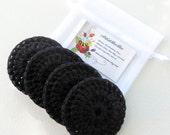 Black Dish Scrubber - Set of 2 through 8 - Nylon Crochet Scrubbies