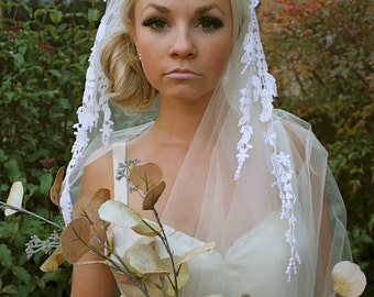 Floral Lace Danglings,  Bridal Cap Veil, Dangling lace motifs on Bridal Cap Veils by VegasVeils