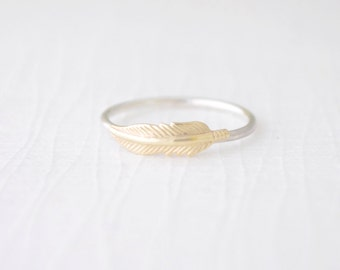 Little Feather Ring, Dainty Gold Feather Ring, Feather Stacking Ring, Small Brass Feather, Thin Sterling Silver Band, Olive Yew - 4218