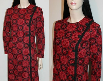 Vintage 60s Artsy Print Day Dress / Psychedelic / Folk / Chic / Retro / 1960s / UK12