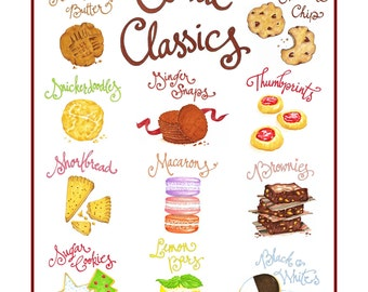 Cookies Print - Cookie Art - Kitchen Wall Art - Food Illustration - Baking Gift - Retro Cookies