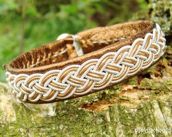 Bronze Swedish Viking Bracelet FREKE Sami Lapland Leather Bracelet Cuff with Pewter Braid and Reindeer Antler - Handcrafted Nordic Spirit