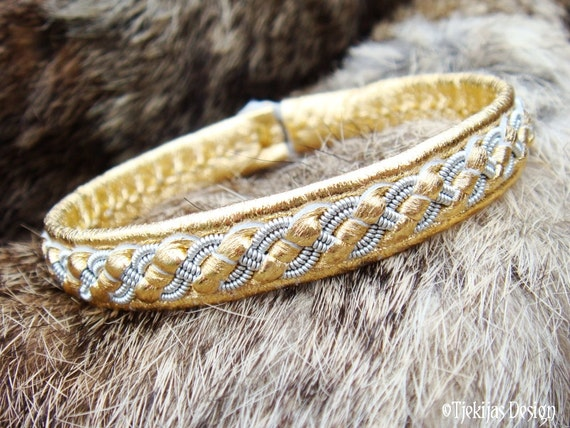 Gold Leather Bracelet FENRIS Swedish Sami Bracelet in Reindeer Leather, Braided Pewter and Antler Button - Handcrafted Tribal Elegance