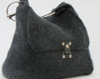 Cowboy Carry All in Charcoal Gray Felted Wool with Broken-Bit Handle and JUL Lock Closure
