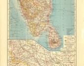 1922 Southen India Vintage Map Original Lithograph, Ceylon, Sri Lanka, Hindustan