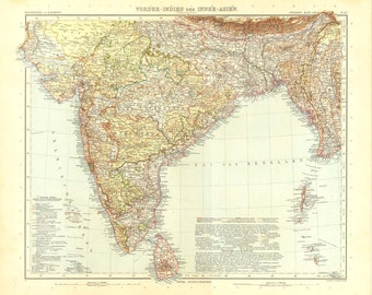 1914 India and Central Asia Antique Map, Stieler