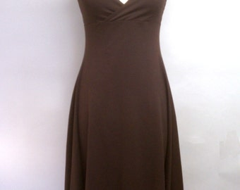 CLEARANCE Halter Dress Brown Cotton Lycra Flared High-Low Hem Size Small - Ready to Wear