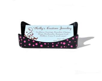 Polka Dot Business Card Holder.  Black and Pink.  Hot Pink Polkadots Business Card Stand.