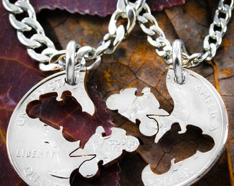 Biker Jewelry, Motorcycle necklace set, relationship interlocking coin necklaces