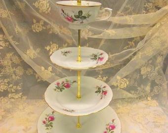 4 Tiered Cupcake Tidbit Stand Server - Wedding Tea Party Birthday Shabby Chic Chodziez Polish China Gorgeous ROSES