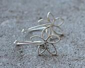 Flowers in Silver - Earrings Sterling hoops Metal Whimsical Modern
