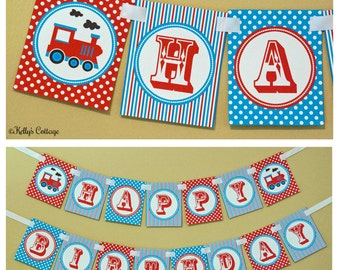 Vintage Train Birthday Banner, Instant Download, Printable, Digital