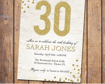 Elegant birthday invitations Etsy
