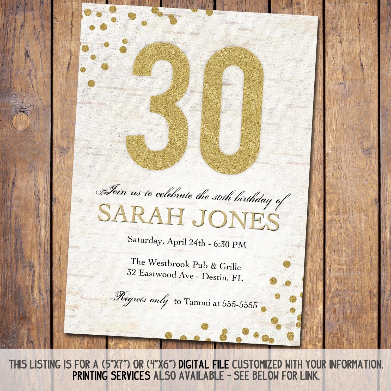 Rustic Birthday Invitation Adult th elegant birthday