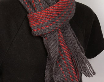 Wool Grey Scarf with red stripes