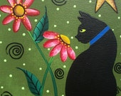 Needlepoint Canvas 14 or 18 count, By Lori Everett, Tree Art, Black Cats, Kitty Art, Dark Sky's, Whimsical Art, Folk Art, Bright Star