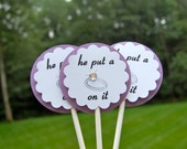 """20 Wedding, Engagement, Bridal Shower, Bachelorette Party - """"He Put a Ring on It"""" Cupcake Toppers"""
