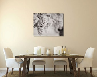 Gallery Wrap Canvas Black and White Grapes Photography Vineyard Winery Wine Lovers Dining Room Cafe Kitchen Wall Art Ready to Hang Large Art