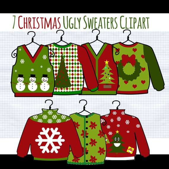 Christmas Clip Art  Ugly Christmas Sweater Digital Clip Art clipart    Ugly Christmas Sweaters Clipart