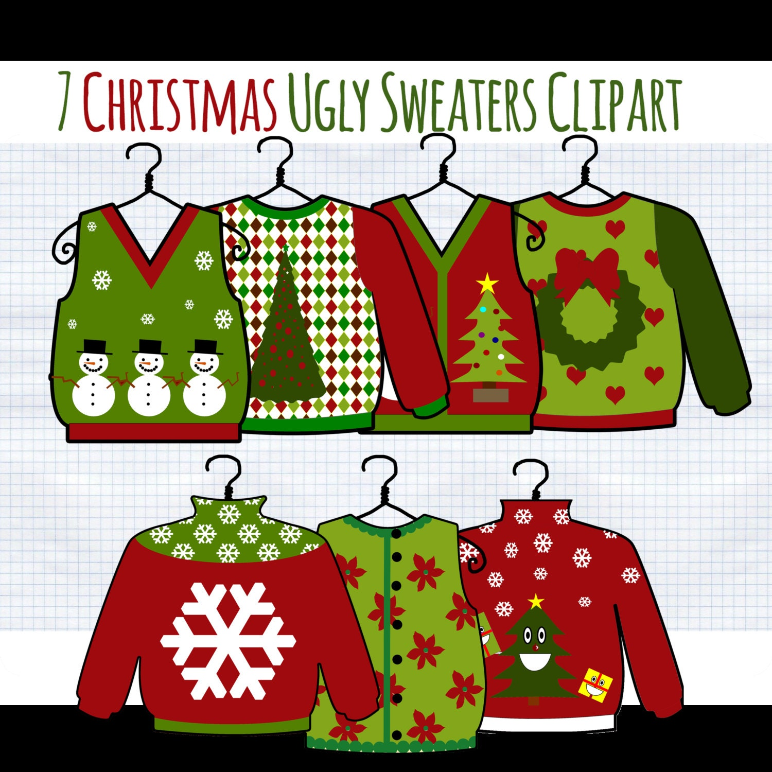 SALE Christmas Clip Art Ugly Christmas Sweater clipart