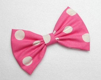 Hot Pink Polkadots Bow pink hair bow white hair bow polka dots hair bow white polkadots hair bow polka dots hair clip retro hair bow women