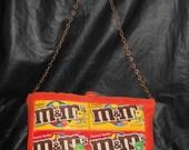 Cute and Fun M&M's Purse, Orange Fabric, Chain Strap