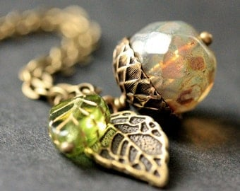 Autumn Frost Acorn Necklace. Crystal Acorn Necklace. Acorn Charm Necklace in Bronze. Handmade Jewelry.