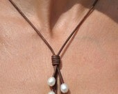 Pearl and Leather Necklace - 5 Pearl Brown Lariat - Pearl and Leather Jewelry Collection