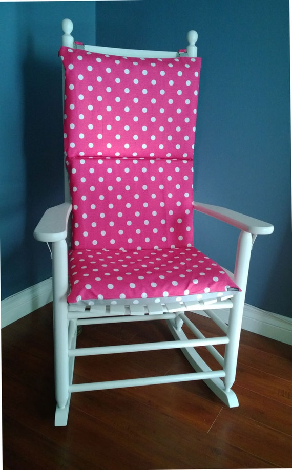 ON SALE Rocking Chair Cushion Cover Hot Pink Grey Polka Dot