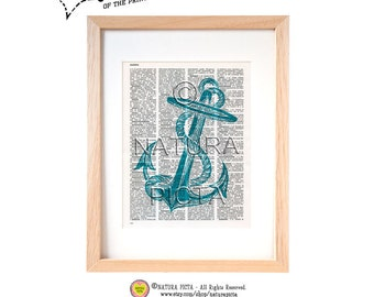 Turquoise sea anchor dictionary print-Anchor on book page-Coastal art print-Beach print-Upcycled Vintage Italian Dictionary-by NATURA PICTA