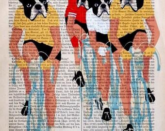 TOUR  DE FRANCE Boston Terrier Cycling art dictionary print poster Boston Terrier Art painting wall decor Boston illustration boston terrier