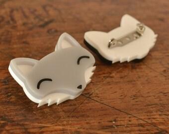 Acrylic Brooch - Cute Fox Brooch - Gift For Animal Lovers - Grey Wolf Brooch - Cute Animal Brooch Acrylic Jewlery