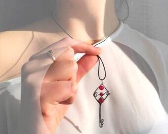 Skeleton key necklace, magenta pink Agate necklace, secret garden key, wire wrapped pendant, silver wirework necklace