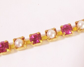 Vintage 3mm Swarovski Fuchsia Crystal and Faux Pearl Cup Chain Ch227