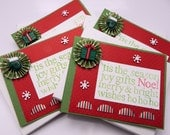 Handmade Greeting Card Set, Holiday Stationery, Christmas, Noel, Gift And Mittens, Kelly Green And Ruby Red