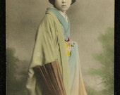 Vintage Japanese Color Tinted Postcard, Unused - FREE SHIPPING