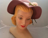 "1940's Hat WWII Hat bonnet brim pink with Millinery Flowers ""Ella"""