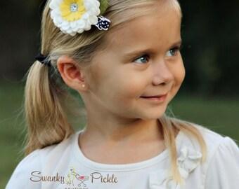 Felt Flower Clip,White Navy Flower Hair Clip,Blossom Hair Clip,Felt Flower Headband,Newborn Baby Toddler Girls,Girls Hair Clip,No Slip Clip