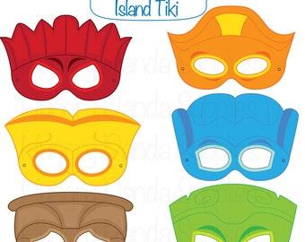 Tiki Party Masks, tiki faces, tiki costume, hawaiian tiki. printable masks