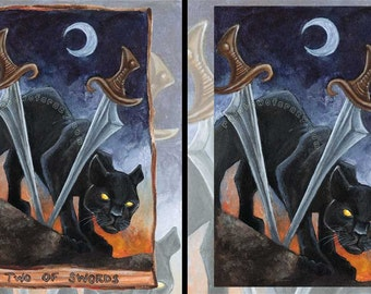 Black Panther Art, Any Size Print, Big Cat Decor, Crescent Moon, Sunrise Sunset, Two of Swords Tarot Card, Animism Tarot Deck