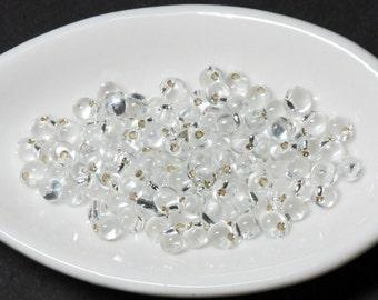 Drop Beads 3.4mm Silver Lined Clear 10 grams Miyuki #1