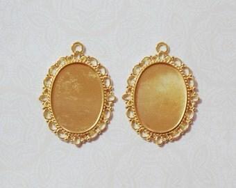 Gold Bezels for 25x18mm Cabochons 2 pcs Plated Filigree Victorian Edwardian Elegant
