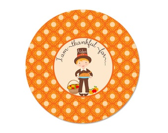 Personalized THANKSGIVING Plate, Pilgrim Boy, Melamine, custom by Libby Lane Press