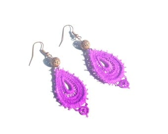 Copper and Neon Purple Lace Earrings
