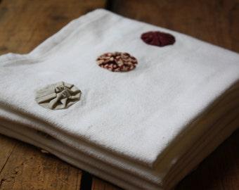 Brick Red and Ecru Yoyo dish towels, Flour Sack Dishtowels, Tea Towels, Red, Ecru