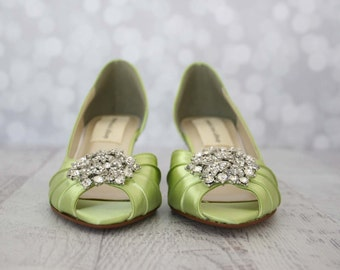 Wedding Shoes -- Spring Green Peeptoe Wedding Shoes with Classic Rhinestone Cluster