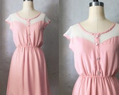 PETIT DEJEUNER in Blush - Rose Pink Vintage Inspired Chiffon Dress with Cream Lace  // bridesmaid dress // shabby chic // day dress