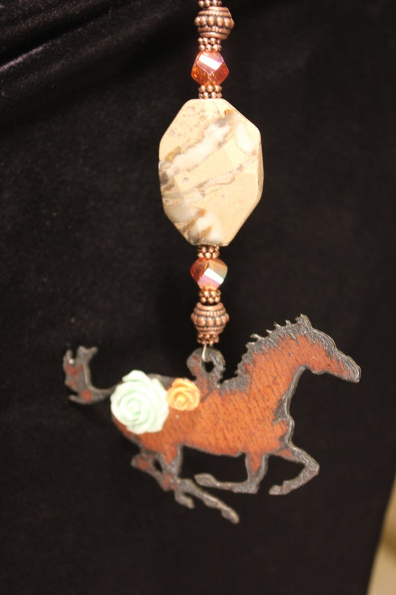 Rear view mirror ornament rustic metal horse by