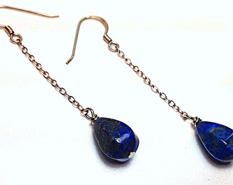 Lapis Lazuli and Sterling Silver Earrings - Pyrite Inclusions - Blue and Silver